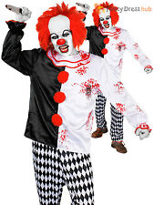 Mens Killer Clown Costume Scary Evil Halloween Fancy Dress Circus Adult Outfit