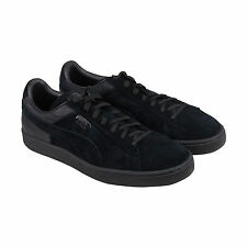 Puma Suede Classic Casual Emboss Mens Black Suede Lace Up Sneakers Shoes