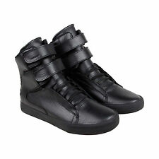Supra Society II Mens Black Leather High Top Lace Up Sneakers Shoes