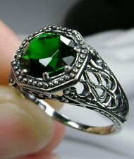 2ct *Green Emerald* Sterling Silver Victorian Filigree Ring Size {Made To Order}