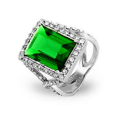 Dazzling Emerald Green Emerald Cut CZ Cocktail Ring - Clearance