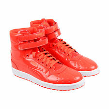Puma Sky II Hi Patent Emboss Mens Red Leather High Top Lace Up Sneakers Shoes