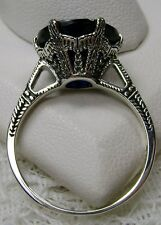5ct *Sapphire* Sterling Silver Edwardian 1910 Etched Filigree Ring Size Any/MTO