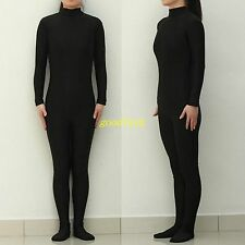 Black Lycra Spandex Zentai catsuit Footed Jumpsuit Dancewear free shipping