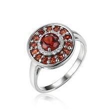 Jewelrypalace 1.2ct Red Natural Garnet Cocktail Ring 925 Sterling Silver