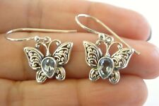 Topaz Peridot Amethyst Garnet Butterfly 925 Sterling Silver Dangle Earrings