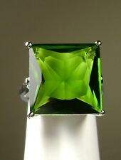 12ct Square *Green Peridot* Sterling Silver 925 Filigree Ring (MTO/New) Size Any