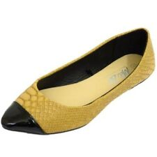 LADIES FLAT TAN SNAKE SLIP-ON POINTY COMFY DOLLY BALLET PUMP BALLERINA SHOES 3-9