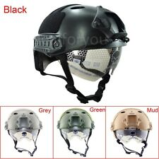 Outdoor Military Airsoft Paintball Tactical Protective Fast Helmet W/Goggle Gear