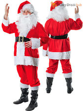 Mens Santa Claus Costume Adults Father Christmas Fancy Dress 7 PC Xmas Outfit