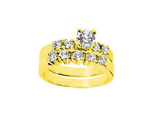 Natural 0.90Ct Round Cut Diamond Engagement Ring Set Solid 14k Gold I SI2