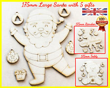 Christmas Santa Reindeer Teddy Shape Gift Tree MDF Wooden Crafting Family Animal