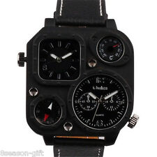 OULM Men Fashion Watch Dual Time Compass Thermometer Sports Watches Wristwatch