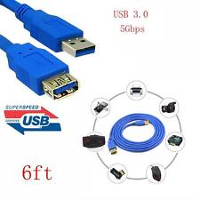 Blue 6Ft /10Ft USB 3.0 A Male to Female Extension Cable Cord