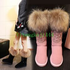 Womens Racoon Fur Woolen Snow Winter Warm Shoes Suede Leather Ankle Boots Flats