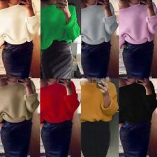 Women Long Sleeve Sweater Knitted Pullover Batwing Sleeve Knitwear Top New D1V4