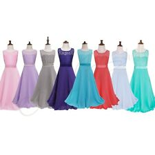 Kid Flower Girls Lace Floral Wedding Bridesmaid Party Ball Gown Maxi Dress 4-14Y