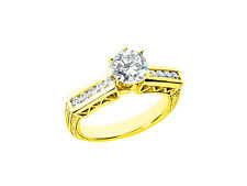 Natural 1.00ct Round Cut Diamond Engagement Ring Solid 14k Gold GH SI1