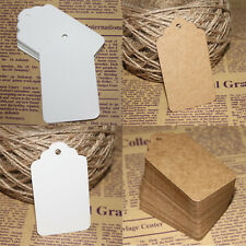 Wholesale 100Pcs DIY Label Price Tags Pre-Strung Blank White Kraft Paper Hot!!