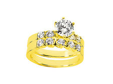 1.40Ct Round Cut Diamond Engagement Ring Wedding Band Set Solid 18k Gold G SI1