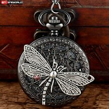 Black Dragonfly Hollow Quartz Necklace Chain Antique Pocket Watch Gift Box Retro