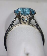 3ct*Aquamarine* Sterling Silver Edwardian 1910 Etched Filigree Ring Size Any/MTO