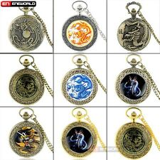 Antique Dragon Theme Quartz Necklace Pendant Vintage Pocket Watch Chain Gift UK