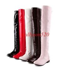 Womens lady Patent Leather Over The Knee High Boots Shoes Thigh High Cosplay
