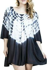 En Creme Women's Plus Size White Charcoal Tie-Dye Flowy Dress