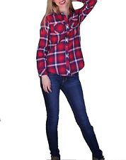 Angie Womens Long Sleeve Plaid Button Up Flannel Top Red