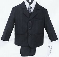 NWT LITO BLUE PINSTRIPE BOYS  5 PIECE SUIT 2T - 4T TODDLER