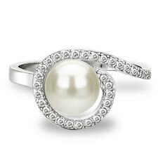DaVonna Sterling Silver 7-8 mm White Freshwater Pearl and White Topaz Spirl Ring