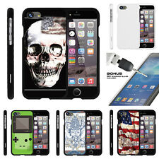 "For Apple iPhone 7 (4.7"") Case Hard Snap On 2 Piece + Tempered Glass USA Skull"