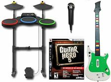 PS3 Guitar Hero 5 Complete Set Bundle w/NEW wireless kit drums mic game sony V