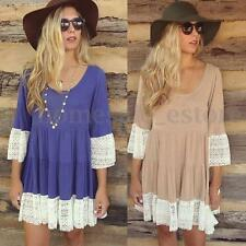 Pregnant Maternity Lady Lace 3/4 Sleeve Evening Loose Mini Dress Long Top Blouse
