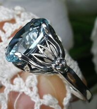 6ct Oval*Blue Aquamarine* Sterling Silver Leaf Floral Filigree Ring Size Any/MTO