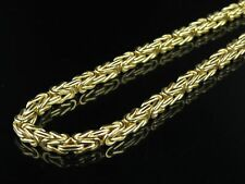 Mens Ladies 10K Yellow Gold Byzantine Link 4 MM  Chain Necklace 22-30 Inches
