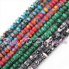 "4x8mm Rondelle Shape Manmade Malachite Gemstone Spacer Beads 15"" Pick Color"
