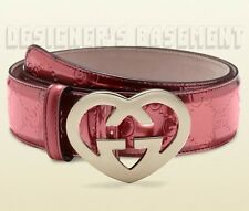 GUCCI pink GUCCISSIMA leather LOVELY Interlocking G HEART buckle belt NWT Authen