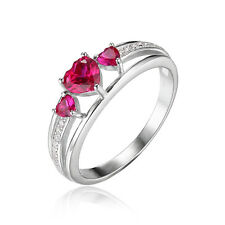 JewelryPalace Heart 0.9ct Created Red Ruby 3 Stones  Ring 925 Sterling Silver