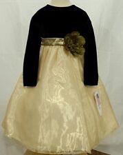NWT LITO GOLD BLACK VELOUR HOLIDAY DRESS TODDLER 5 - 7