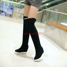 Womens lady Faux Suede Hidden Heels Cuffed Ways Wear Over the Knee Boots new