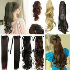 US Drawstring/Ribbon/Claw Wrap on Ponytail Hairpiece Clip in Hair Extensions p79