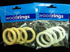 Wooden curtain pole rings 28mm real wood ring pk 4