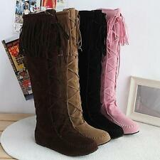 Womens Pull On suede knee high Boots Tassels Knight Moccasin Ridding flat Boots