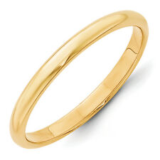 14K Yellow Gold 2.5mm Half Round Wedding Band Solid Classic Ring Sizes 4 - 14