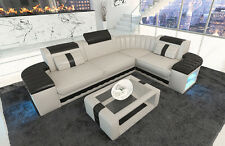 Leather Couch Corner sofa BERGAMO L-shaped Designer Couch Set with LED lighting