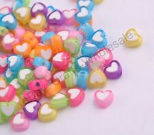 100PCS Acrylic 8MM Heart Shaped Spacer Beads Charm Jewelry Findings