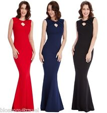 Goddiva Pleated Front Keyhole Fitted Wiggle Fishtail Maxi Evening Party Dress