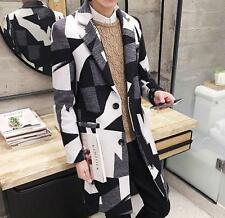 Formal Mens print Knee Length Coat long Trench Lapel wool blend slim fit Parkas